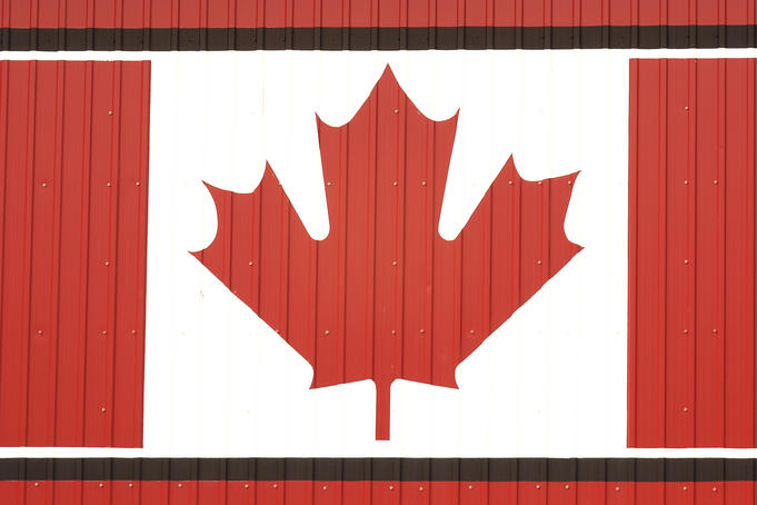Maple leaf motif on corrugated shed.