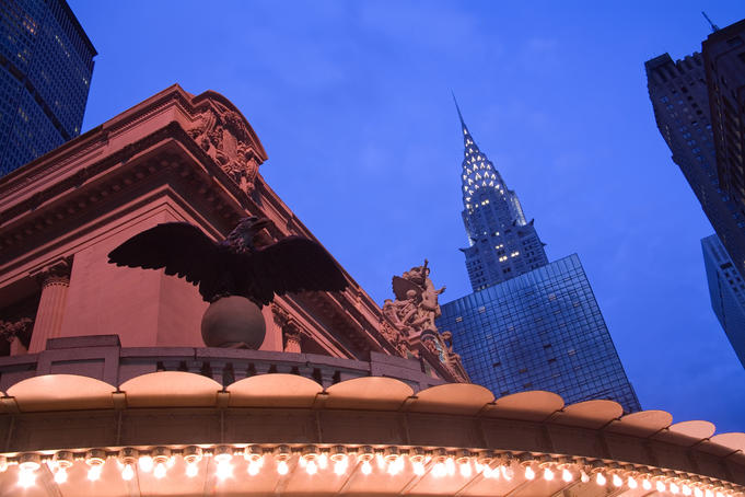Grand Central station and the Chrysler building, Midtown Manhattan.