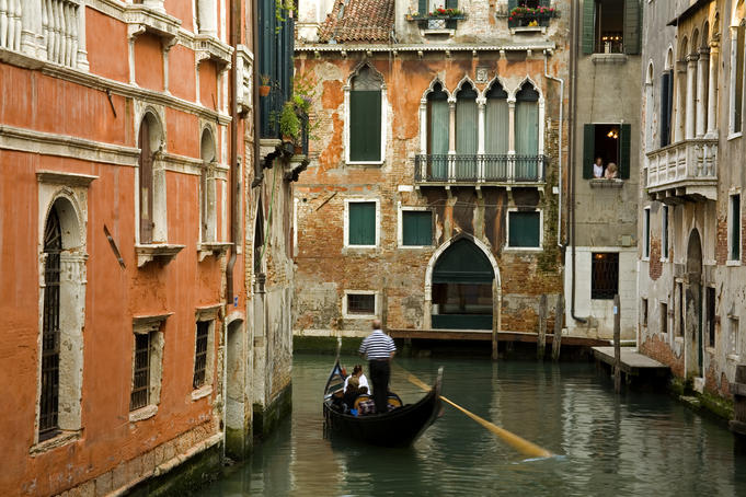 Gondola on canal in San Marco district.