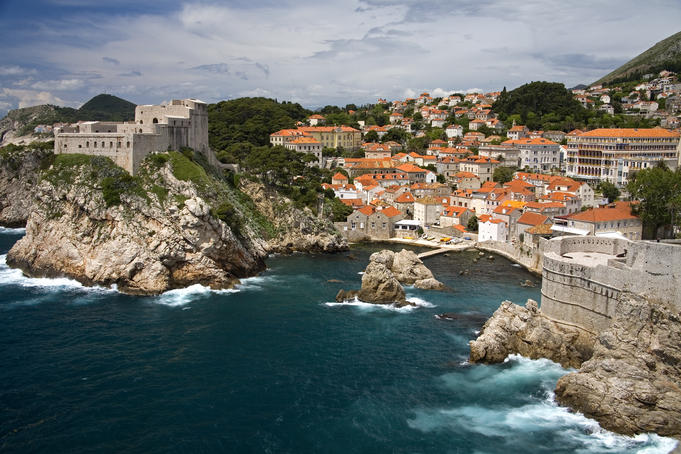 The coastline of Dubrovnik, Croatia, with Lovrijenac Fortress.