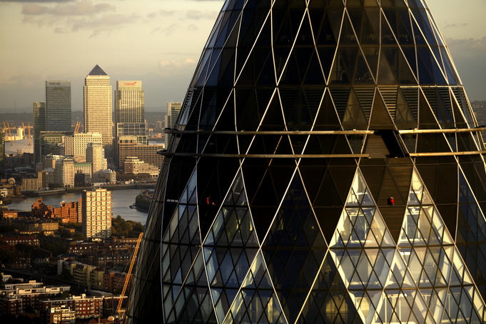 View of Norman Foster's 'Gherkin' building at 30 St Mary Axe, London.
