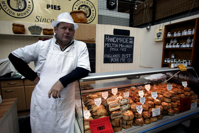 Pie shop and salesman, Borough Market.