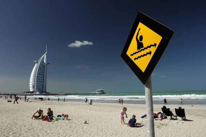 Jumeirah Beach with Burj Al Arab in background.