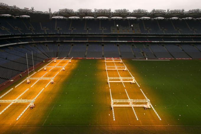 Croke Park stadium with the grow lights on.