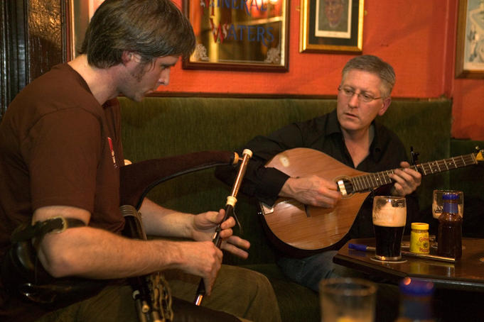 Traditional music at Hughes' pub.