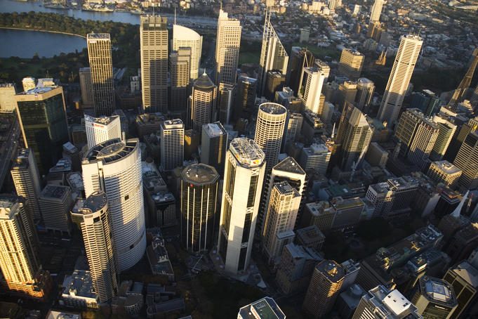 Aerial of Sydney CBD.