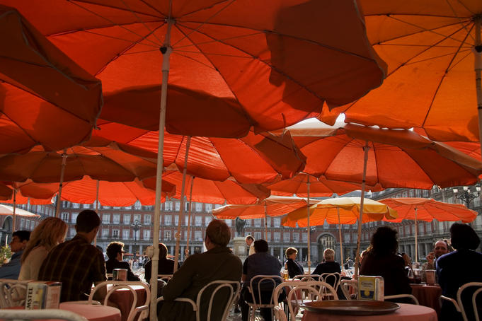 Outdoor cafes in Plaza Mayor, Madrid