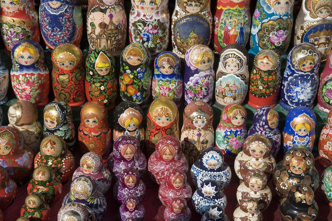 Russian babushka stacking dolls.
