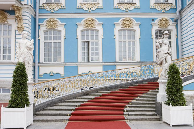 Red carpet leading to Catherine Palace, Tsarskoye Selo.