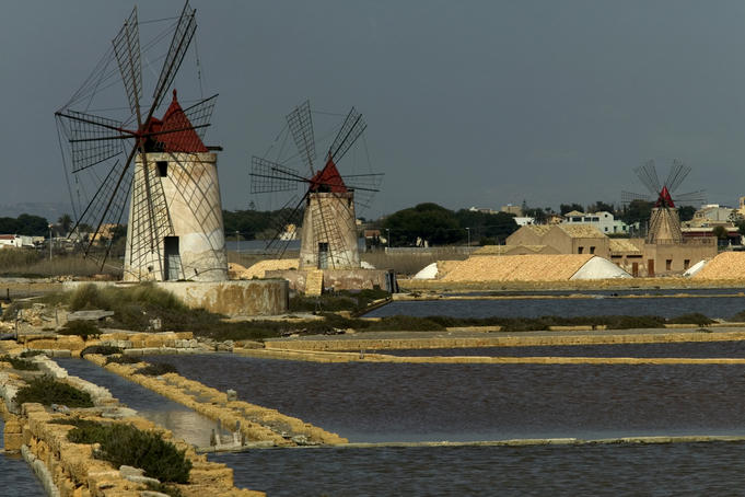Windmills at salt fields.