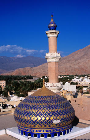 Overhead of mosque and town from Nizwa Fort.