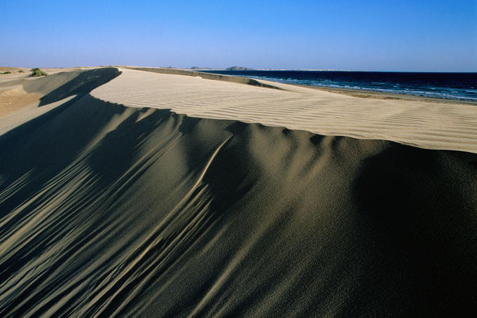 Coastal sand dunes on beach west of Mirbat.