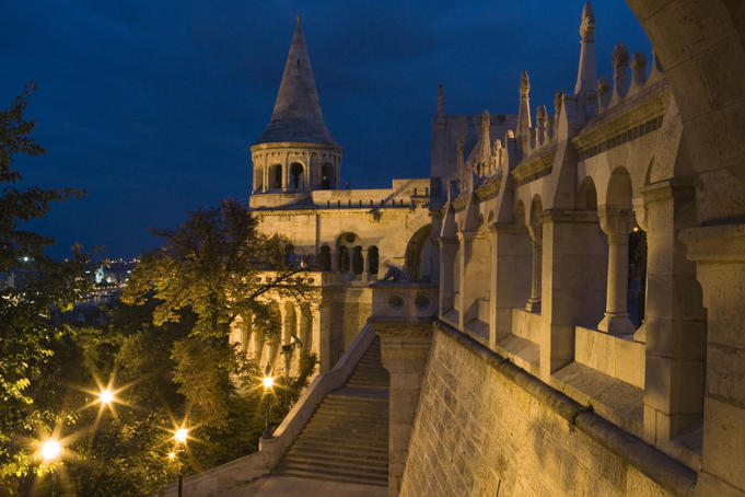 Fisherman's Bastion at dusk.