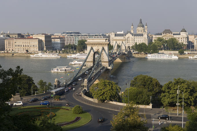 Szechenyi Chain Bridge from Castle Hill.
