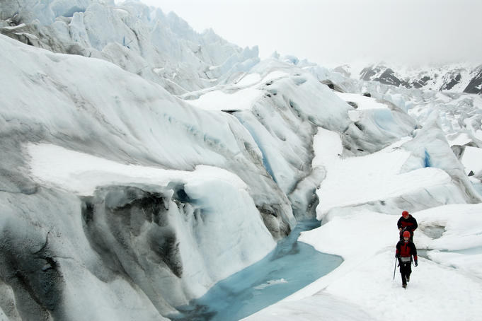 Hikers on Mendenhall Glacier near Juneau.