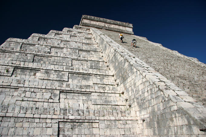 Low angle view of Chichen Itza.