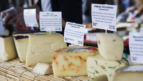 Cheeses for sale at Broadway Market (London Fields).