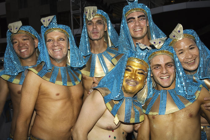 Male particpants in Egyptian head-dresses, Gay and Lesbian Mardi Gras Parad