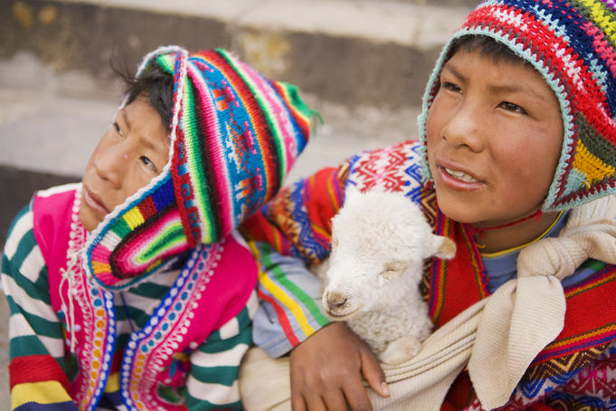 Young boys with lamb, Cusco.