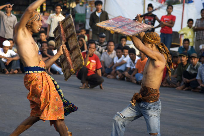 Men in local stick-fighting competition.