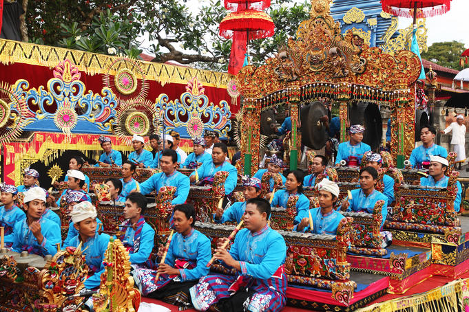 Gamelan musicians perform during the Balinese Arts Festival.