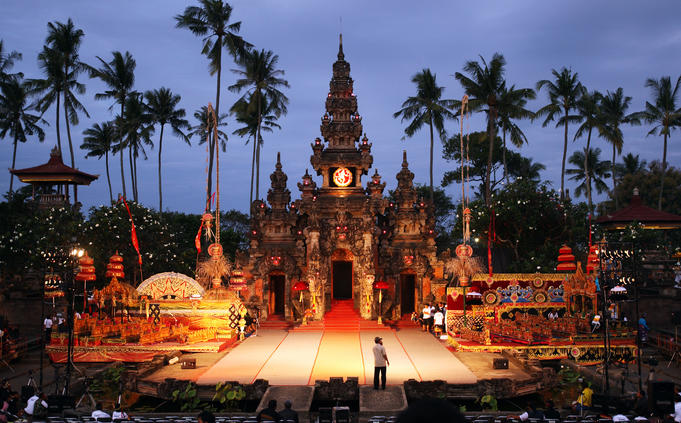 An ornate stage for Gamelan musicians to perform during the Balinese Arts Festival.