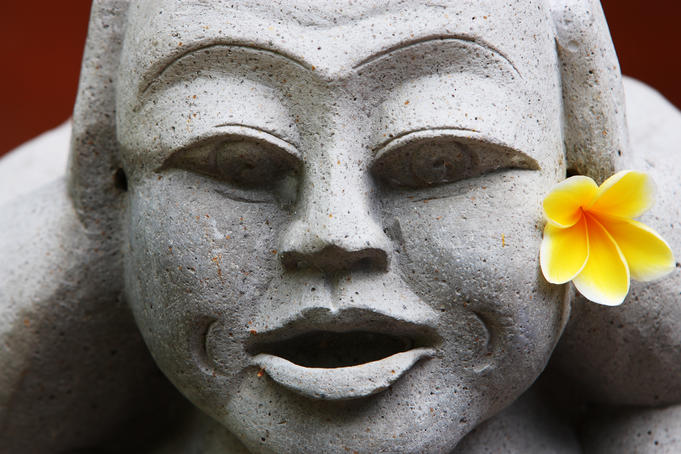 Frangipani flower on a stone carved face.