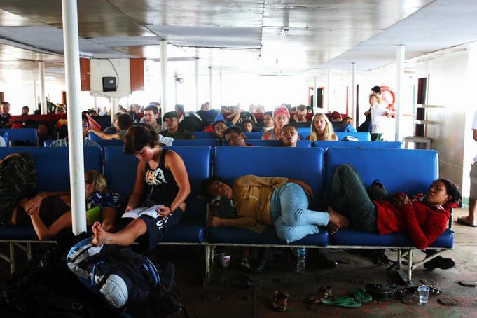 Tourists on the Bali-Lombok ferry.