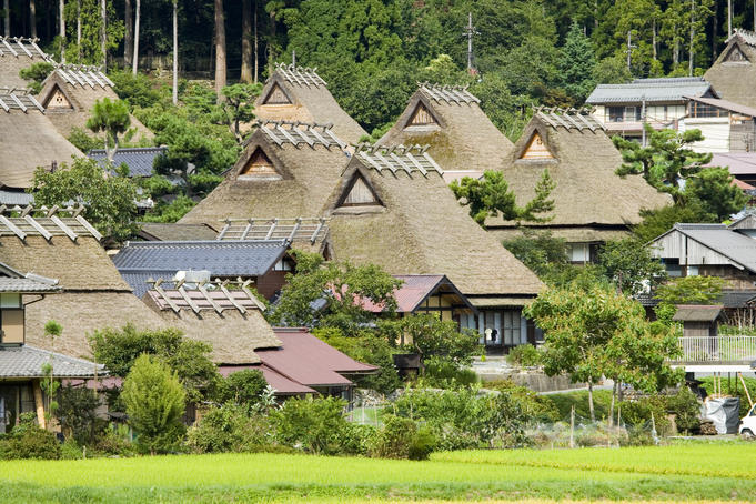 Thatched roof houses (kayabuki) in the village of Miyama, also known as Kita, or Kyabuki-no-Sato.
