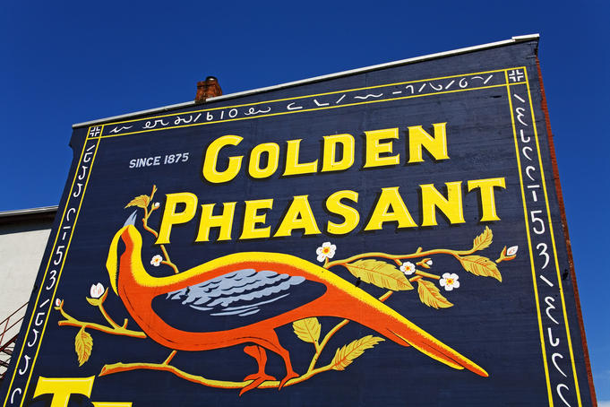 Mural advertisement on Water Street.
