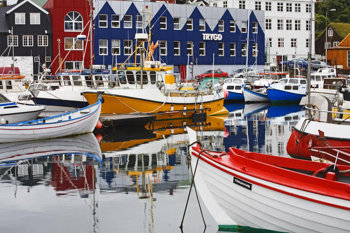 Small boats docked in the harbour, Port of Torshavn.