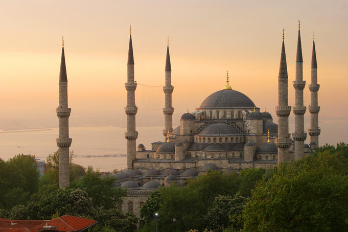 Sultan Ahmet (Blue Mosque) at dawn, Historic centre of Istanbul.