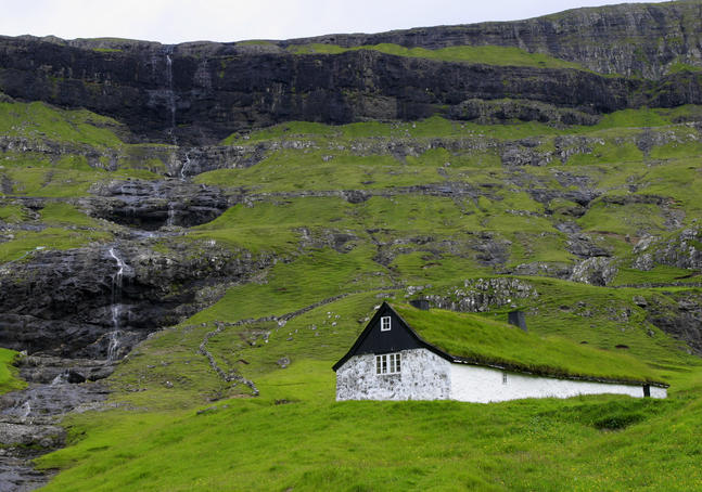 Traditional Faroese farm at Saksun.