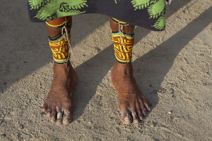 Kuna feet and legs wrapped in colorful beads.