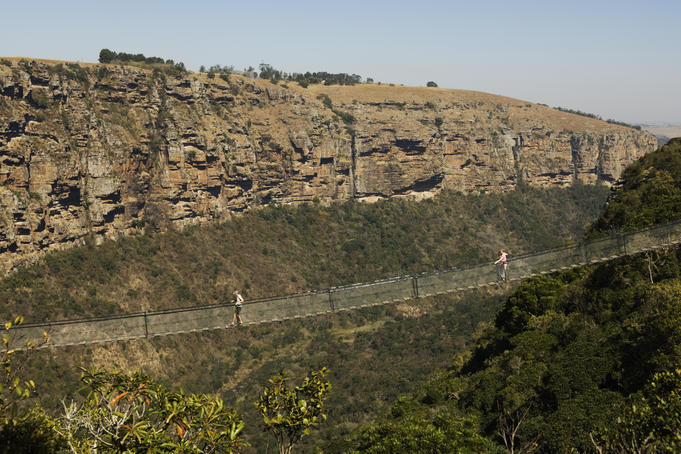 Suspension bridge over Umzimkulwane river, Oribi Gorge Nature Reserve.