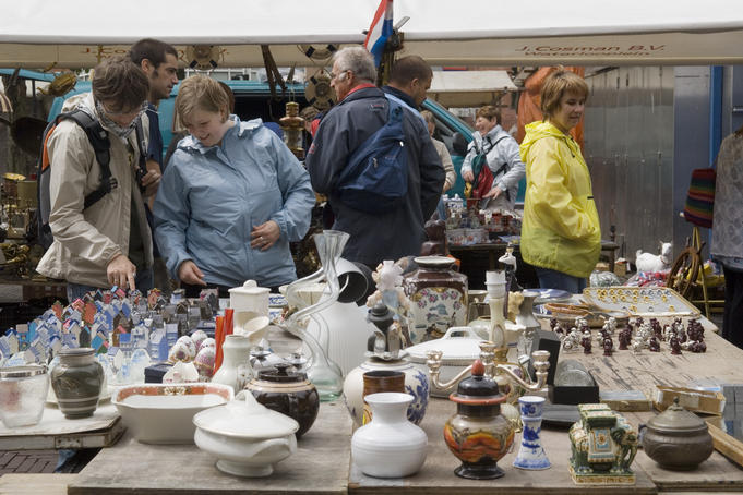 Waterlooplein flea market in the Southern canal belt.