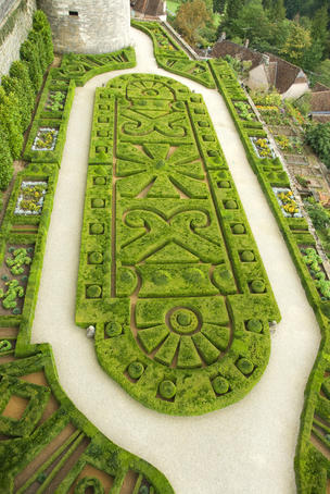 Overhead of English style garden from Tower of Brittany, Chateau de Hautefort.