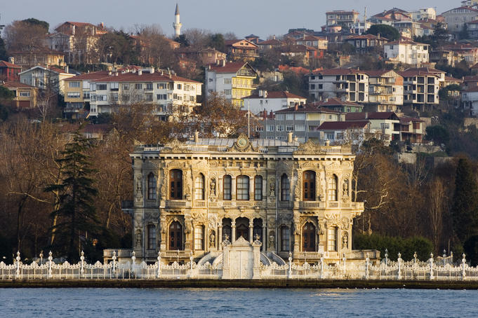 Grand building on banks of Bosphorus River.