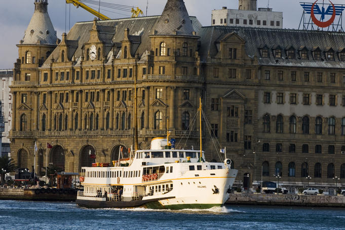 Haydarpasha railway station with ferry in foreground.