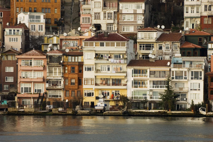 Apartments on edge of Bosphorus River.