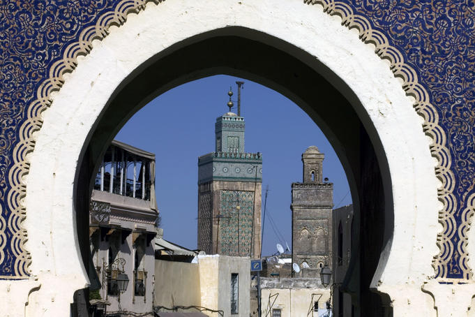 Bab Bou Jeloud (The Blue Gate) and minarets, Fès