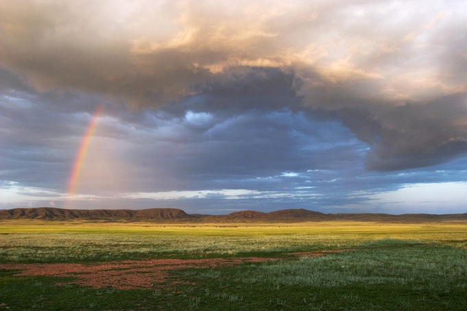Rainbow over the steppe near old Soviet nuclear testing area.
