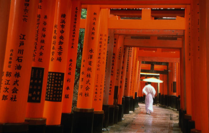 Traditional torii with inscriptions at Fushimi Imari shrine, south of Kyoto.