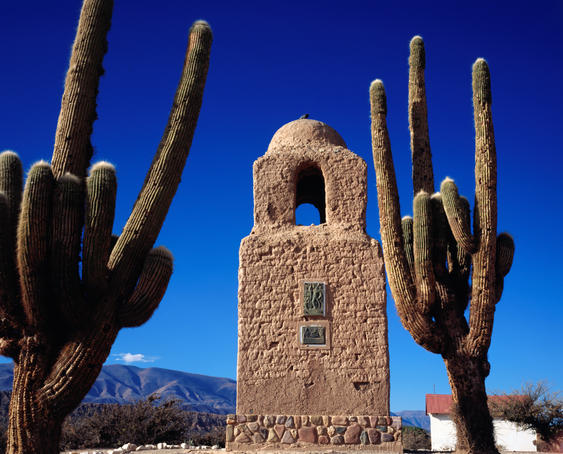 Adobe monument and cacti, Humahuaca