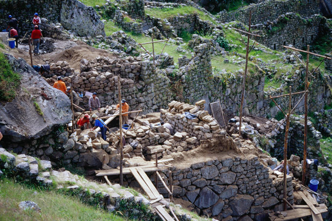 Restoration of the Inca ruins, Machu Picchu, Cuzco