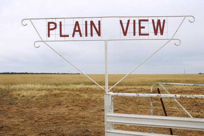 Station sign 'Plain View' on the Mitchell Hwy, Nyngan.