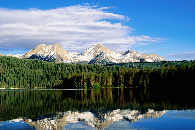 Sawtooth Mountains and Redfish Lake.