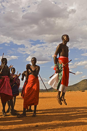 Samburu warrior dancing.