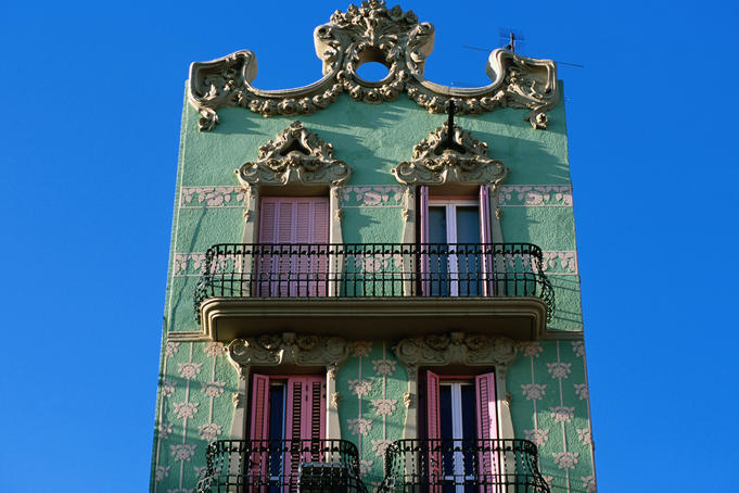 Traditional building facade, Placa del Sol, Gracia, Barcelona