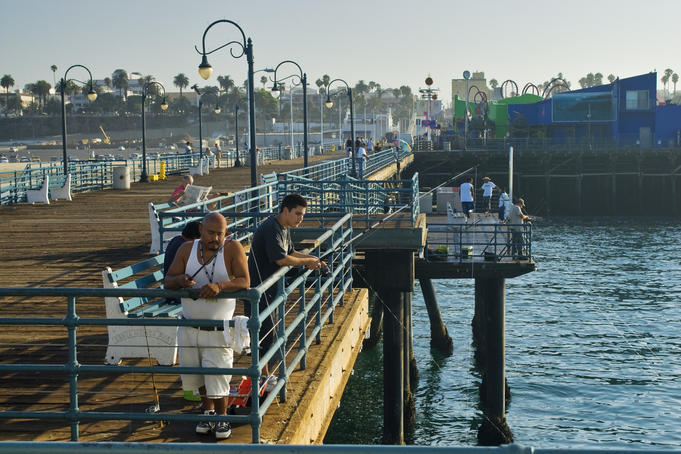 Fishing at Santa Monica Pier.